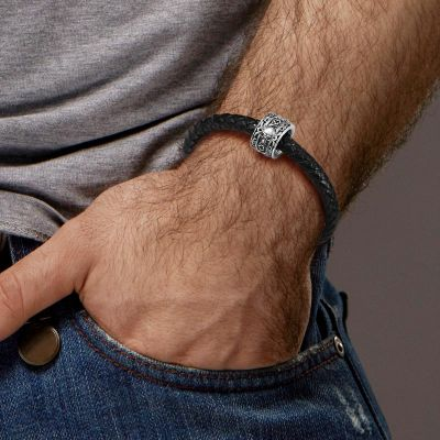Totenkopf & Rose Charm Armband