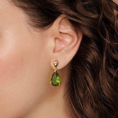Grüne Olivenstein Ohrringe