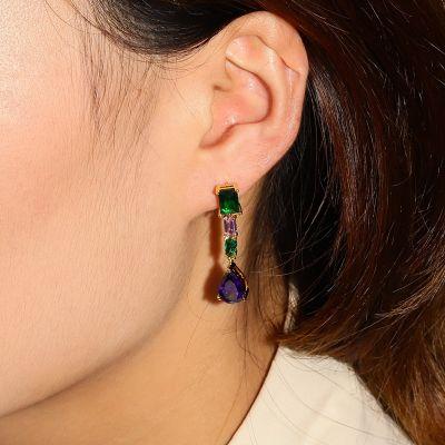 Dunkelblaue Anhänger Ohrringe