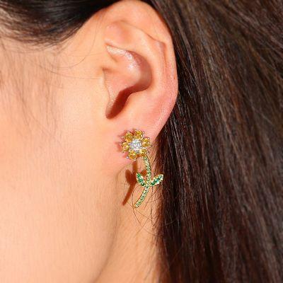 Kleine gelbe Blumen Ohrringe