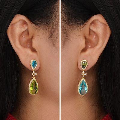Farbige Steine Ohrringe