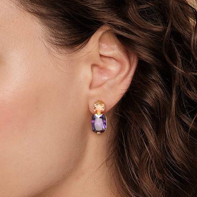Lila Stein Anhänger Ohrringe