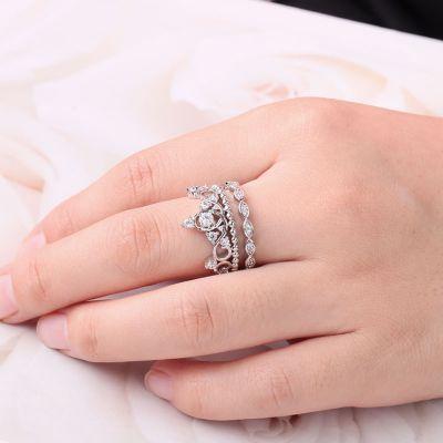 Prinzessin Kronen Ring Set in S925 Silber mit weiß glänzenden Zirkonen