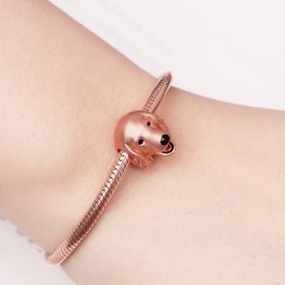 Gnoce Golden Retriever Charm Perle aus S925 Silber 18 Karat Rosé vergoldet
