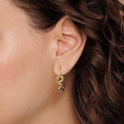 Goldschlange Anhänger Ohrringe