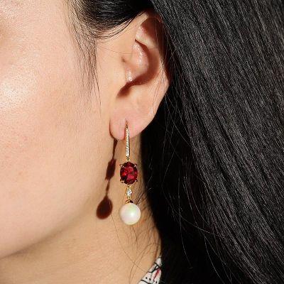 Rote Stein Perlen Ohrringe