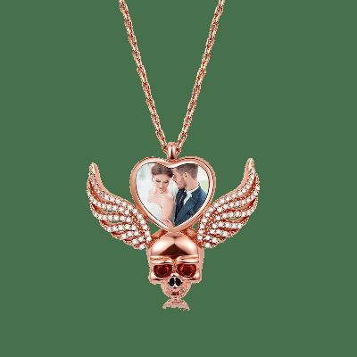 Flügel Schädel Foto Halskette