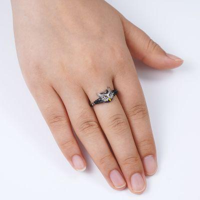 Schwarze Eule Ring