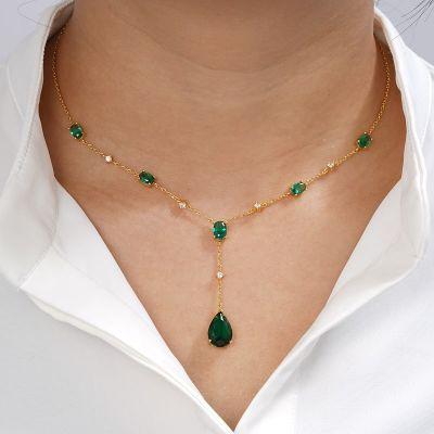 Grüne Tropfen Anhänger Halskette