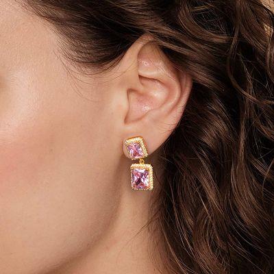 Rosa strahlende Stein Ohrringe