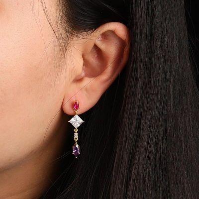 Quadratische Stein Ohrringe