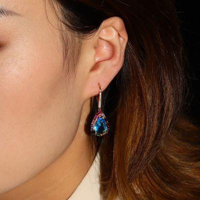 Farbige Tropfen Anhänger Ohrringe
