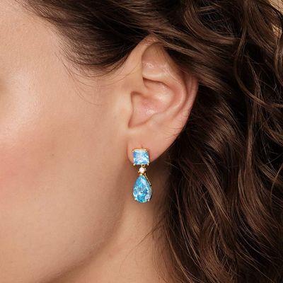 Blaue Stein Blüten Ohrringe