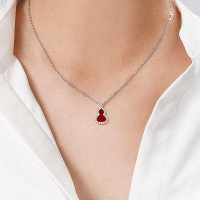 Rote Achat Kürbis Halskette