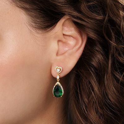 Grüne Stein Anhänger Ohrringe