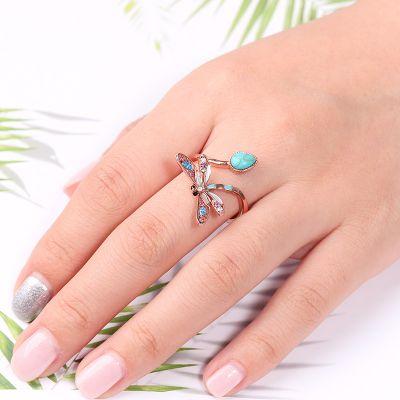 Türkis Libellen Ring