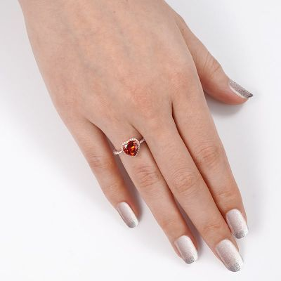 Rotes Herz Halo-Ring