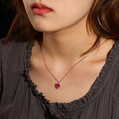 Fuchsia Herz Halskette
