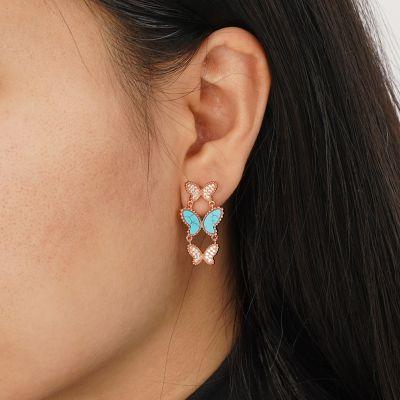 Türkis Schmetterlinge Ohrringe