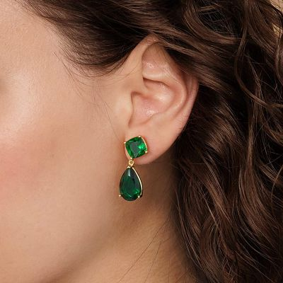 Große grüne Saphir Ohrringe