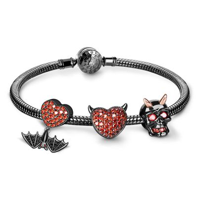 Herz Fledermaus Charms Armband