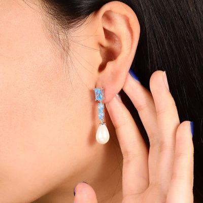 Blaue Stein Perlen Ohrringe