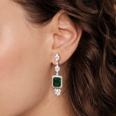 Grüne Saphir Anhänger Ohrringe