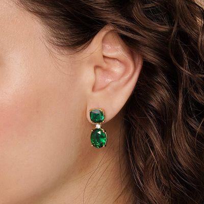 Große grüne Stein Ohrringe
