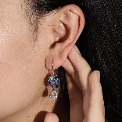 Blaue Blume Anhänger Ohrringe