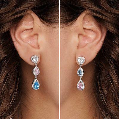 Tropfen Ohrringe Blau Rosa