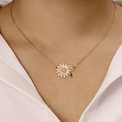 Rosa Gänseblümchen Halskette