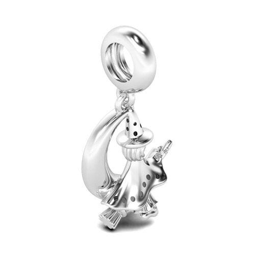 925er Silber Kettenanh/änger Hexe auf Besen mit beweglichen Glieder #706