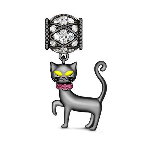 Halskette Katzen Black and White Silbern mit Steinchen NEU